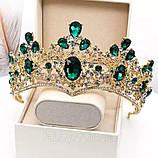 Велична корона півколом з зеленим камінням (8cm), фото 7