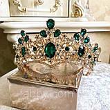 Велична корона півколом з зеленим камінням (8cm), фото 6