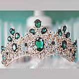 Велична корона півколом з зеленим камінням (8cm), фото 3