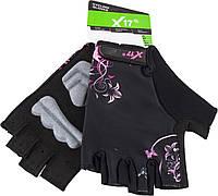 Перчатки X17 XGL-677PI гелевые, женские, розово-черные, S