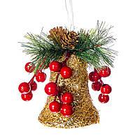 Ёлочная игрушка колокольчик MHZ 015NZK (7*12 см) Новогодний сувенир, золотой