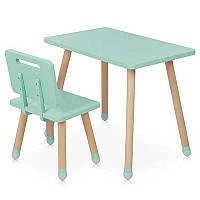Столик детский деревянный M 4256 + стульчик, цвет мята