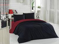 Полуторный комплект. Черно-бордовое постельное постельное белье Простыня на резинке