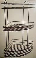 Полочка для ванных комнат тройная угловая