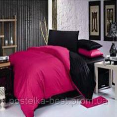 Двуспальный комплект. Черно-розовое постельное постельное белье
