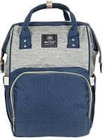 Сумка-рюкзак для мам Anello, серо-синий