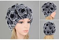 Жіноча шапка з хутра кролика рекс сіра з чорними трояндами, фото 1