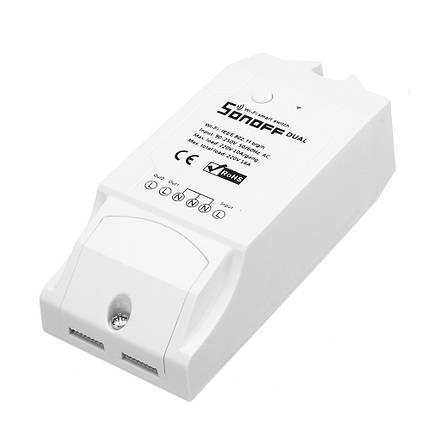 SONOFF® двухканальный DIY WIFI беспроводной пульт дистанционного управления APP переключатель разъем AC 90-250V для интеллектуального дома-1TopShop, фото 2