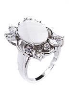 Кольцо серебряное с белым агатом