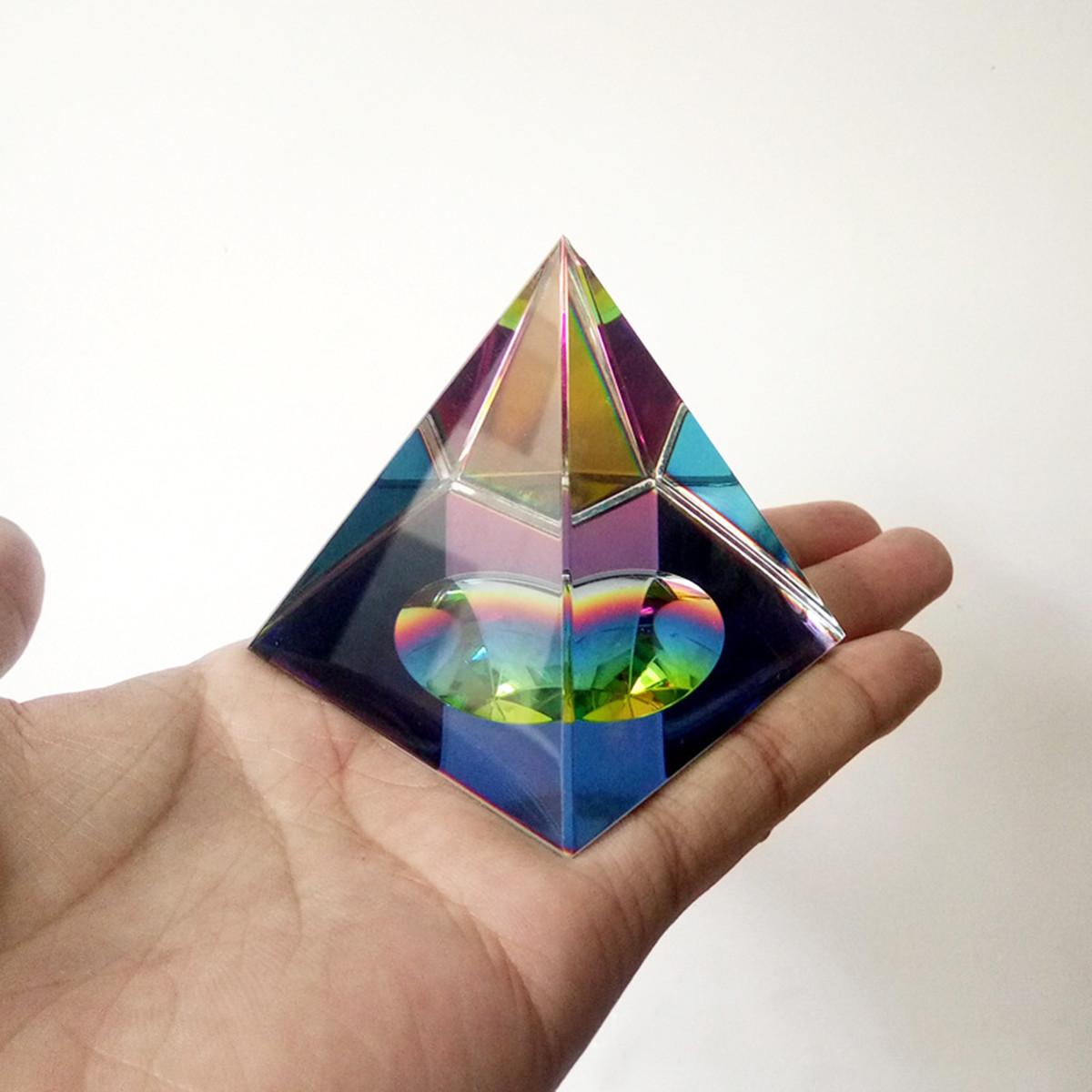 6 см Кристалл Радужная пирамида Призма Радуга Цвет Домашний декор FengShui Reiki Исцеление Украшения - 1TopShop