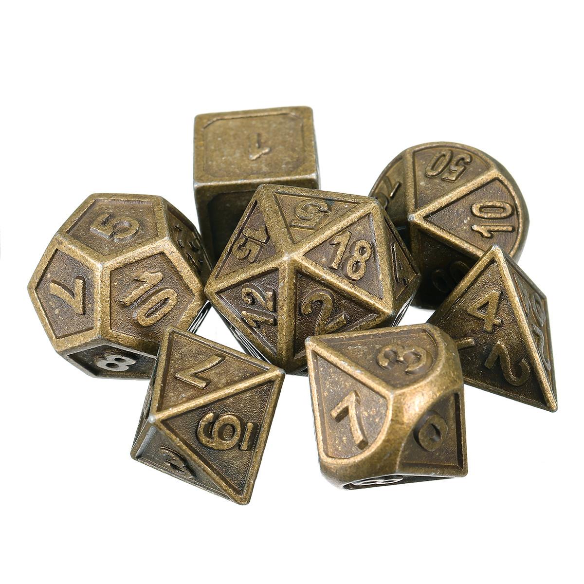 7шт. Тисненые тяжелые металлические многогранные кубики RPG Многогранные кубики с Сумка - 1TopShop