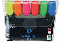 Набор маркеров текстовые (6шт.), 1-4,5мм, клиновидный, Schneider , разноцветные