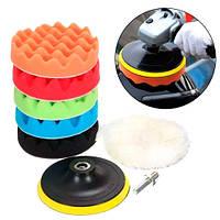 Насадки на дрель для полировки автомобиля, мебели, 6 штук + шлифовальный диск