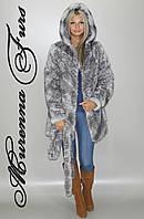 Женская шуба из искусственной норки, Серо - голубой леопард № 45