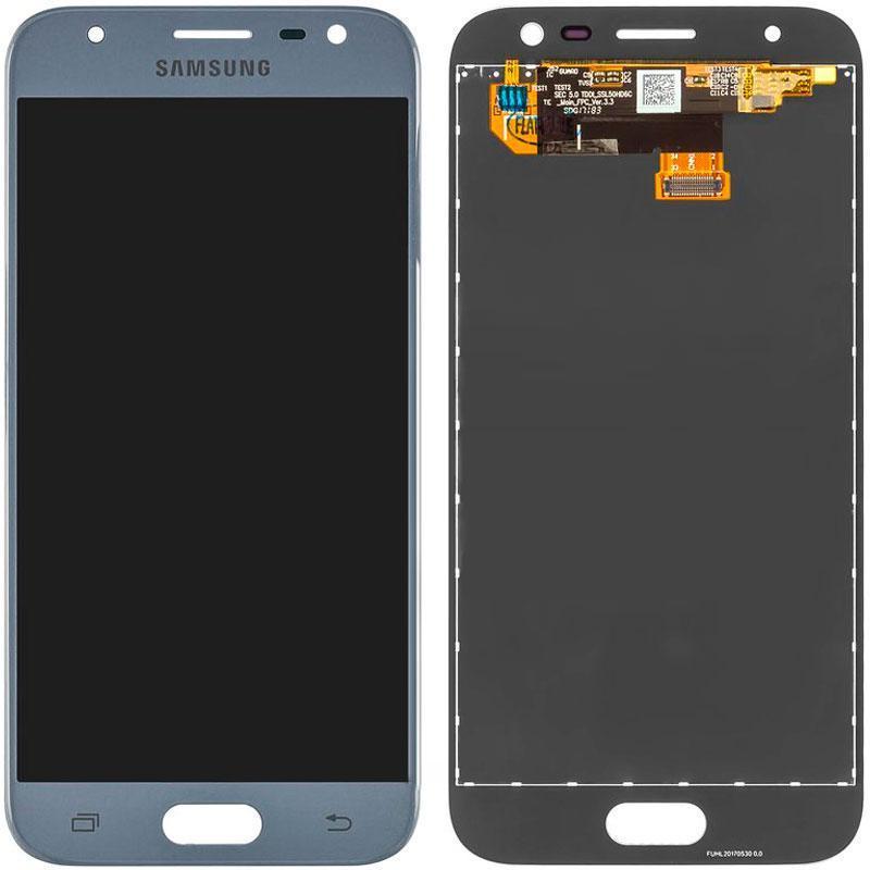 Дисплей и сенсор (модуль) на Samsung J330H, J3 - 2017 серый (100% Service )