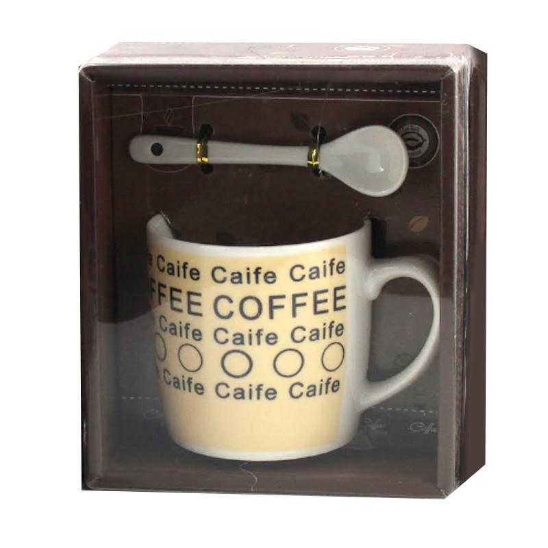Чашка с ложечкой в подарочной упаковке Coffee Caife бежевая - 203721