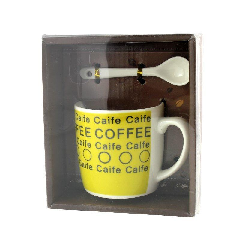 Чашка с ложечкой в подарочной упаковке Coffee Caife желтая - 203722