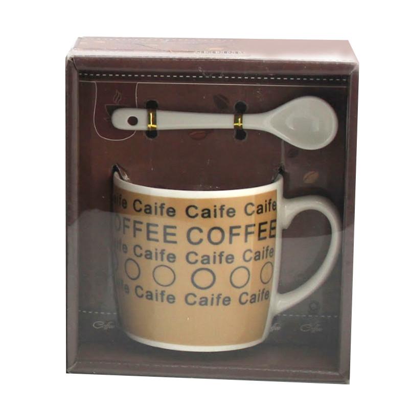 Чашка с ложечкой в подарочной упаковке Coffee Caife коричневая - 203723