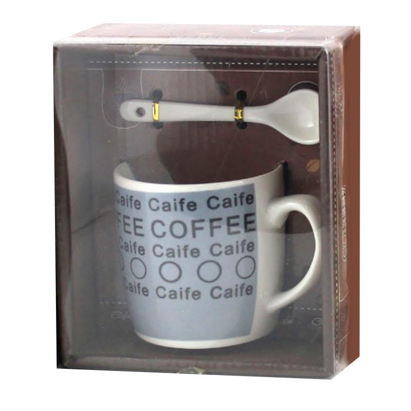 Чашка с ложечкой в подарочной упаковке Coffee Caife синяя - 203724