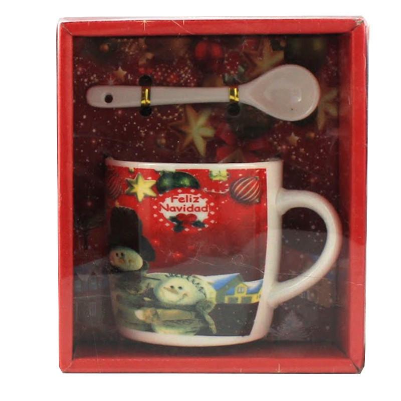 Чашка с ложечкой в подарочной упаковке Felis Navidad Spain Два снеговика - 203725