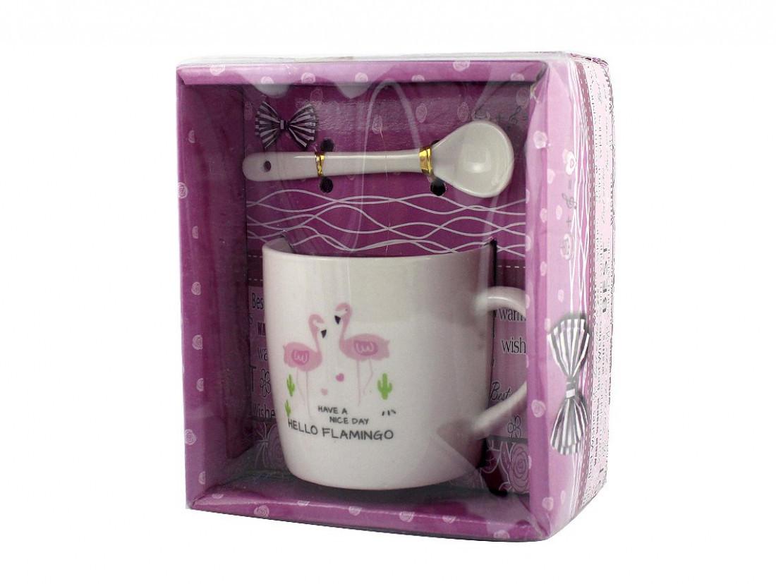 Чашка с ложечкой в подарочной упаковке Flamingo Hello - 203731