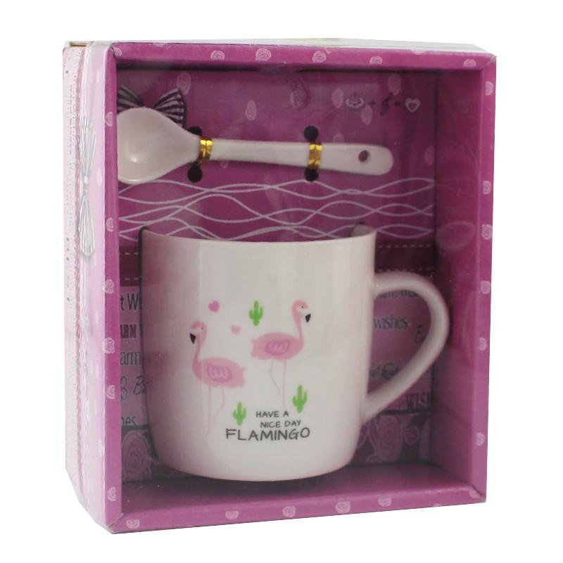 Чашка с ложечкой в подарочной упаковке Flamingo Walk - 203732