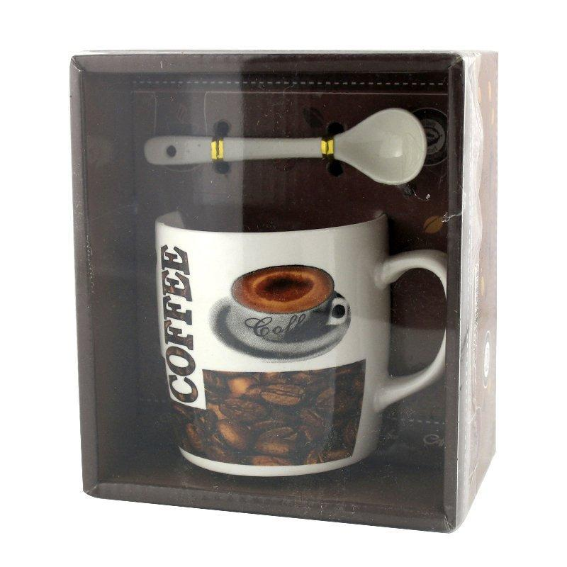 Чашка с ложечкой в подарочной упаковке Hot Coffee зерна кофе - 203639