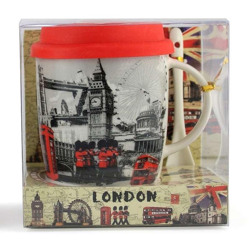 Чашка с силиконовой крышкой и ложкой London - 203653