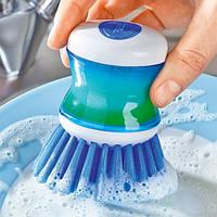 Щетка для мытья посуды с дозатором синяя - 220891