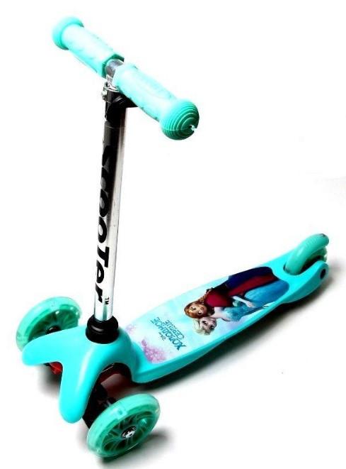 Самокат трехколесный детский Mini светящиеся колеса принт бирюзовый