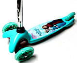 Самокат трехколесный детский Mini светящиеся колеса принт бирюзовый, фото 2