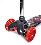Самокат трехколесный детский Mini светящиеся колеса принт черный, фото 3