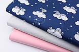 """Лоскут ткани """"Зайка на белом облаке"""" на синем фоне (№2432а), размер 43*80 см, фото 4"""