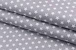 """Лоскут сатина """"Одинаковые густые звёздочки 12 мм"""" белые на сером, № 2198с. размер 38*80 см, фото 2"""