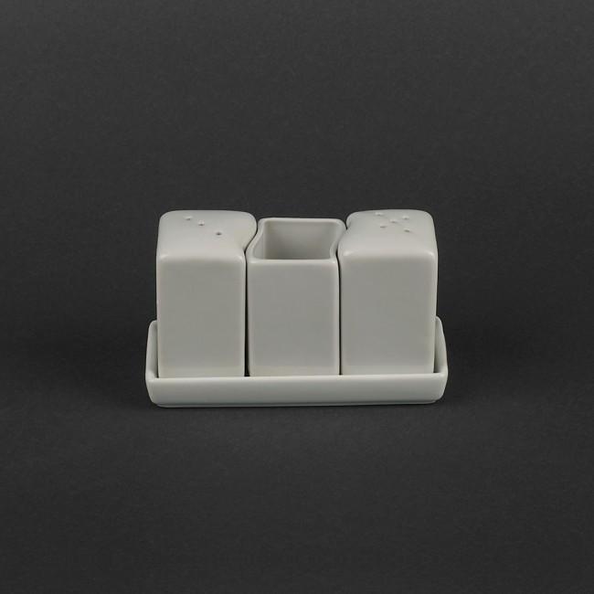 Набор фарфоровый белый для специй 3 предмета на подставке (арт. HR1571)