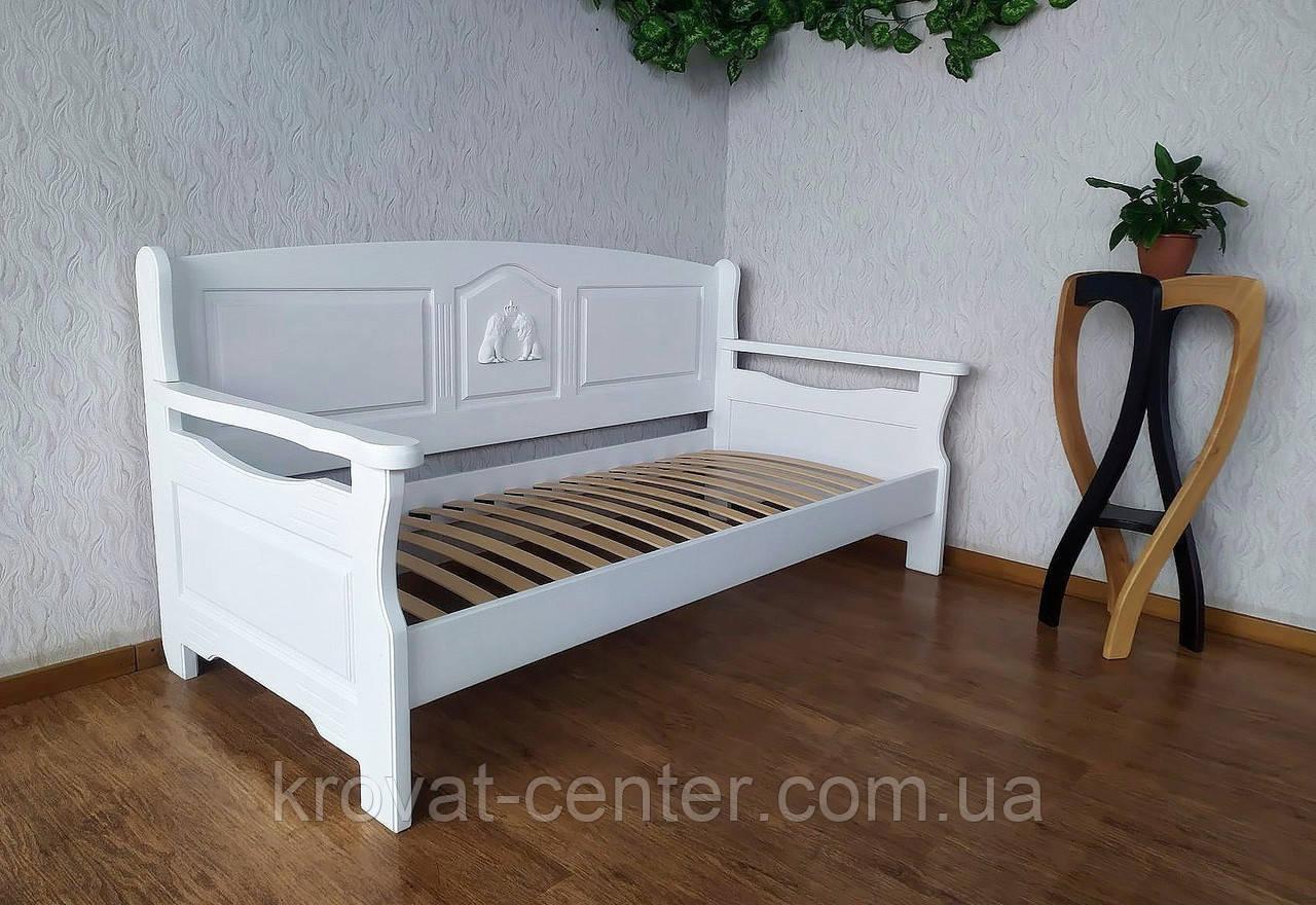 """Білий дитячий диван ліжко з натурального дерева """"Орфей Преміум"""" від виробника"""
