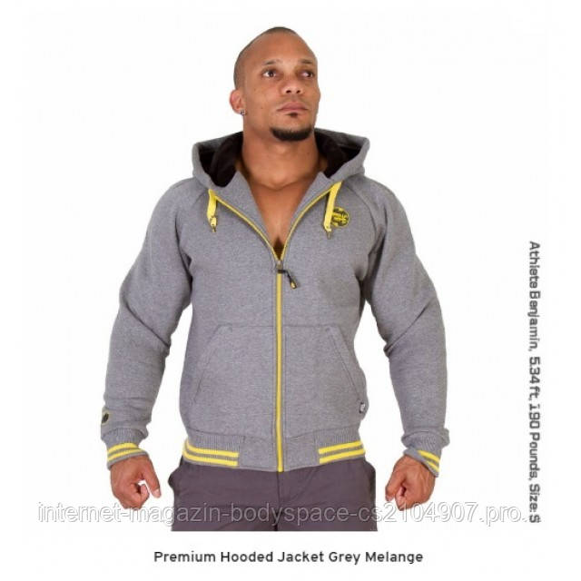 Gorilla Wear, Толстовка Premium Hooded Jacket Grey Melange, серая