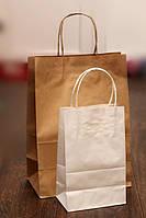 Крафт-пакет с кручеными ручками БЕЛЫЙ (150х80х240мм) А5