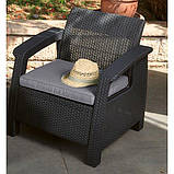 Крісло садове вуличне Keter Corfu Armchair з штучного ротанга, фото 2