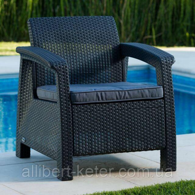 Крісло садове вуличне Keter Corfu Armchair з штучного ротанга