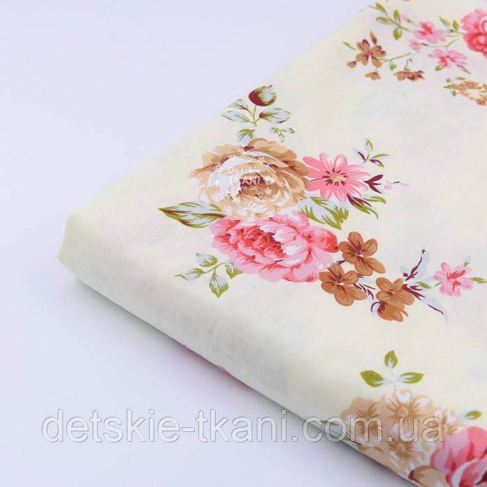 """Лоскут сатина """"Большие пурпурные и коричневые розы на кремовом"""" №1469с, размер 79*35см"""