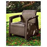 Крісло садове вуличне Keter Corfu Armchair з штучного ротанга, фото 10