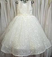 6.217 Блестящее кремовое нарядное детское платье-маечка с вышивкой и корсом на 5-6 лет