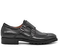 Мужские кожаные демисезонные классические черные туфли на каблуке Польша