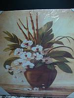 Репродукция картины на дереве Орхидея в глечике