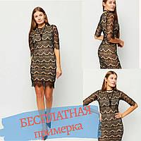 Платье женское черное кружевное приталеное