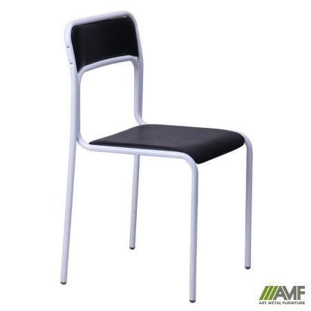 Офисный стул Аскона белый лак/кожзам черный AMF