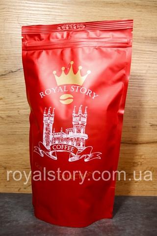 Смесь кофе в зернах 50 арабики 50 робусты Royal Story 500г в красной упаковке