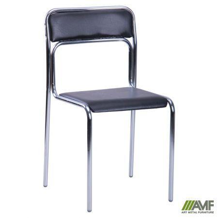 Офісний стілець Ascona хром/чорний кожзам AMF