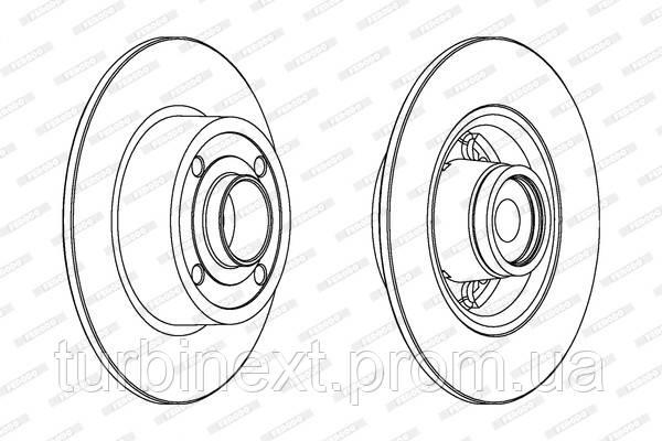 Тормозной диск задний RENAULT CLIO III, MEGANE II FERODO DDF1571-1